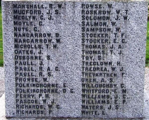War Memorial FACE - Illogan War Memorial